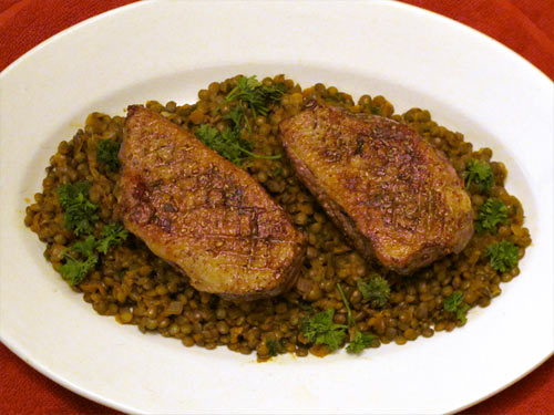 Orange Infused Duck Breast on a Bed of Lentils