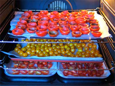 Tomatoes drying in the oven